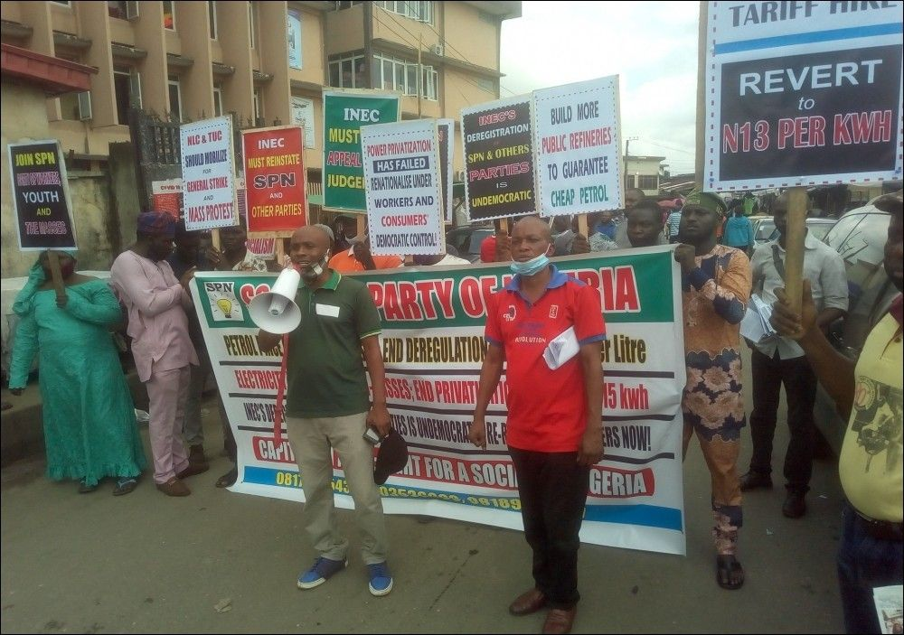 Socialist Party of Nigeria left party, formed by DSM and DSM members campaigning in Lagos, photo DSM